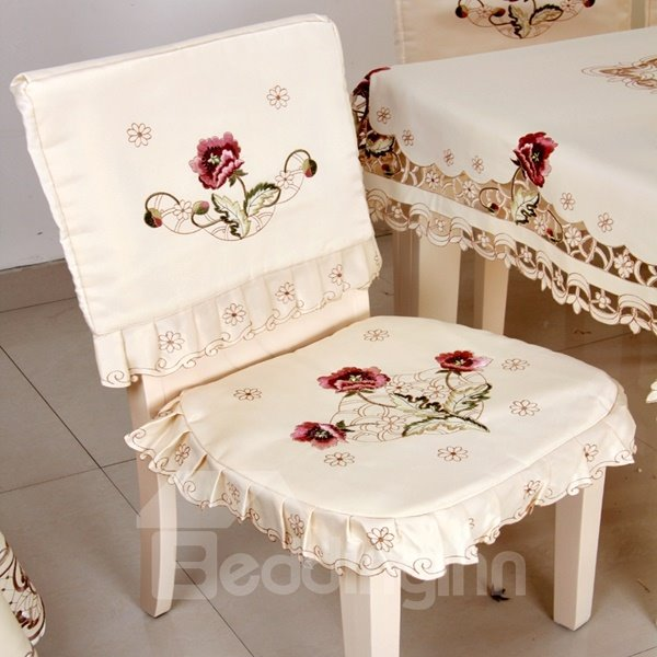 Removable Beautiful Polyester Fibre Flower Pattern Dinning Room Decoration Chair Covers