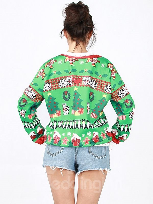 Attractive Christmas Style Long Sleeve Green 3D Painted Hoodie