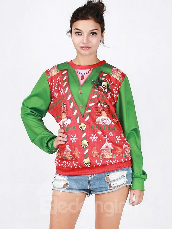Charming Long Sleeve Christmas Style Pattern 3D Painted Hoodie