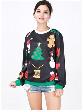 Wonderful Christmas Style Long Sleeve Christmas Tree Pattern 3D Painted Hoodie