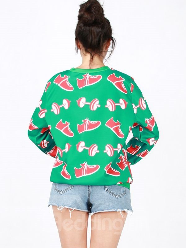 Unique Christmas Style Long Sleeve Green 3D Painted Hoodie