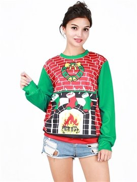 Cute Christmas Style Long Sleeve Christmas Socks Pattern 3D Painted Hoodie