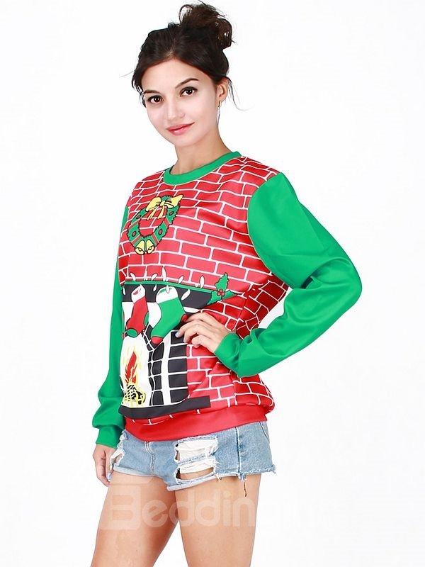 Cute Christmas Style Long Sleeve Christmas Socks Pattern 3D Painted Hoodie