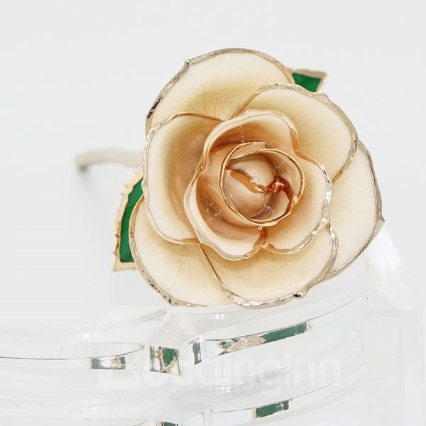 Romantic Forever Love Never Fade Champagne 24K Gold Rose