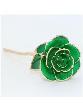Luxury Forever Love Never Fade Green 24K Gold Rose