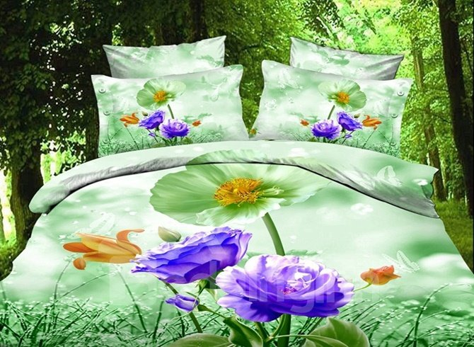 Charming Purple and Peony and Poppy Print 4-Piece Duvet Cover Sets