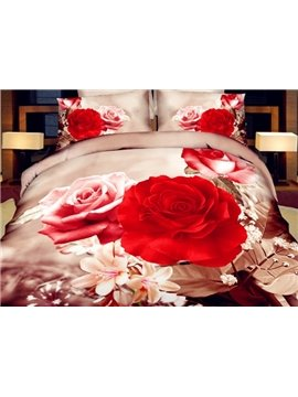 Exquisite 3D Rose Printed 4-Piece Polyester Duvet Cover Sets