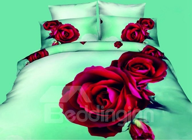 Seductive Red Rose Printed 4-Piece Polyester Duvet Cover Sets