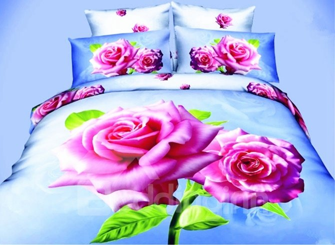 Romantic 3D Pink Rose Printed 4-Piece Polyester Duvet Cover Sets