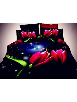 Brilliant Red Tulip Print 3D 4-Piece Polyester Duvet Cover Sets
