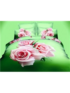 Fragrant 3D Pink Rose Printed 4-Piece Polyester Duvet Cover Sets