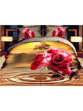 Delicate Red Rose Print 4-Piece Polyester Duvet Cover Sets
