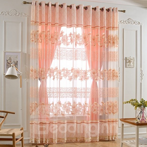 Elegant Pink Lily Printing Shading Cloth & Sheer Curtain Set