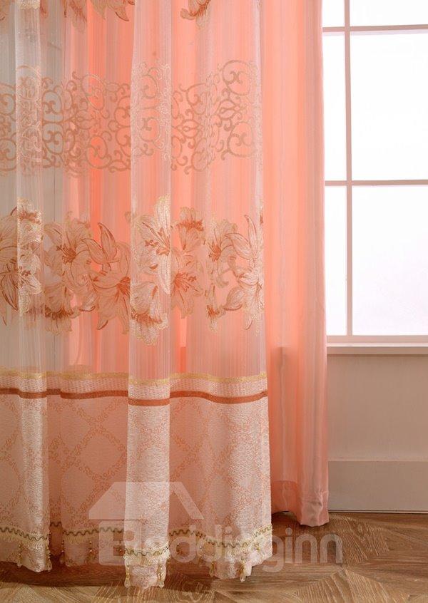 Elegant Pink Lily Printing Shading Cloth & Sheer Curtain Set