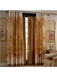 Luxury European Style Solid Golden Shading Cloth Grommet Top Curtain