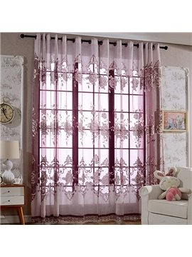 Gorgeous Purple Peony Printing Custom Sheer Curtain