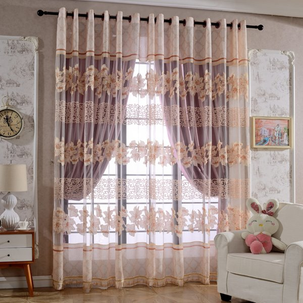 Cute Pink Full-Bloom Lily Printing Custom Sheer Curtain