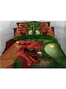 Stunning 3D Red Dinosaur Printed 4-Piece Duvet Cover Sets