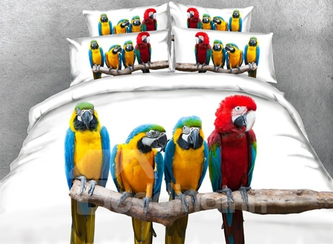 Colorful 3D Parrot Digital Printing 4-Piece Duvet Cover Sets 12436279