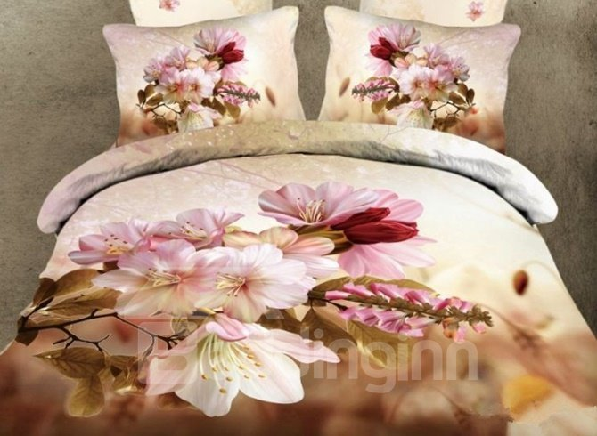 Adorable Pink Cherry Blossom Print 4-Piece Cotton Duvet Cover Sets