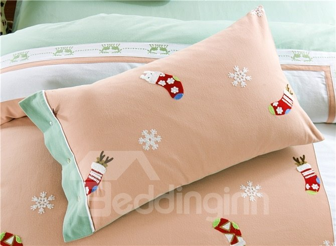 Exquisite Embroidery Brushed Cotton Christmas Gift 4-Piece Duvet Cover Sets