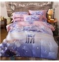 Dreamy Colorful Deer Print 4-Piece Cotton Duvet Cover Sets