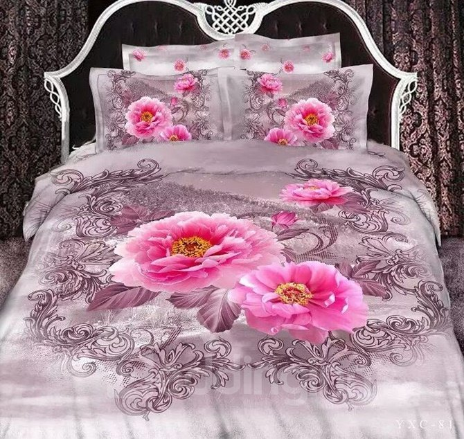 Graceful Pink Peony Print 4-Piece Duvet Cover Sets