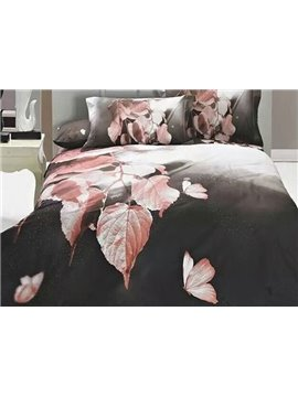 Chic Leaves 3D Print 4-Piece Duvet Cover Sets