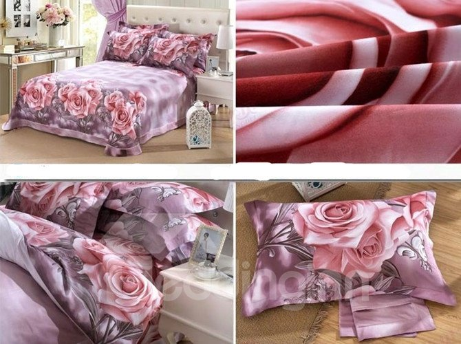 Photographic Lovely Pink Rose Print 4-Piece Cotton Duvet Cover Sets