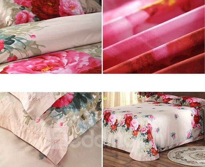 Noble Peony 3D Print 4-Piece Cotton Duvet Cover Sets