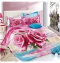 Likable Red Rose 3D Printed 4-Piece Cotton Duvet Cover Sets