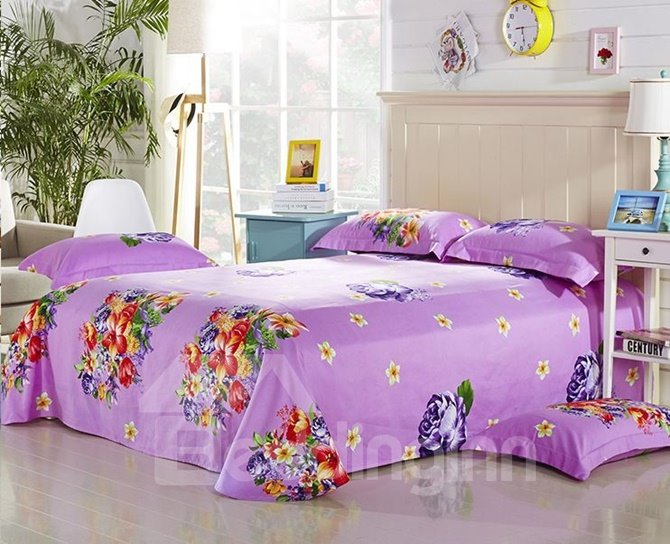 Bright 3D Lily and Peony Print 4-Piece Cotton Duvet Cover Sets