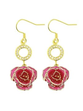 Pretty Shining Circle Design 24k Gold Rose Earrings