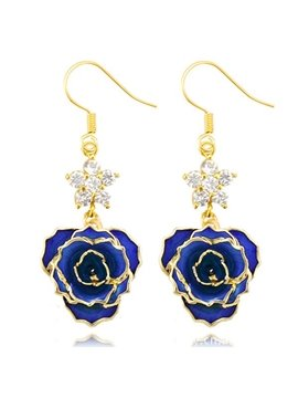 Fantastic Shining Star Design 24k Gold Rose Earrings
