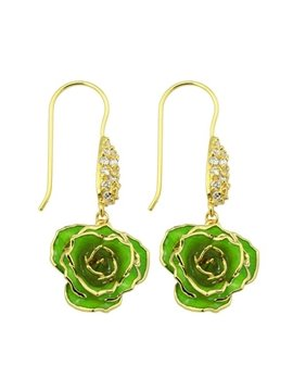 Amazing Concise Design Three Colors for Choose 24K Gold Rose Earrings