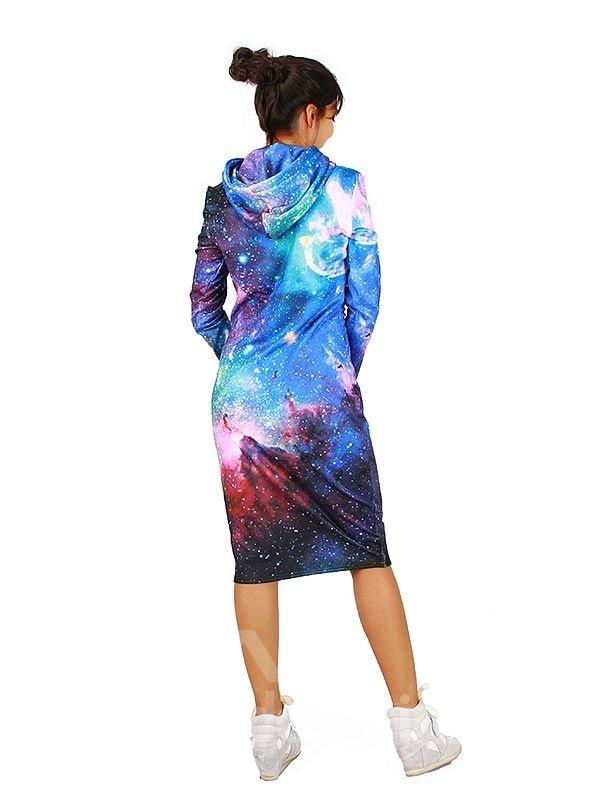 Elegant Long Sleeve Starry Sky Pattern 3D Painted Hoodie Dress