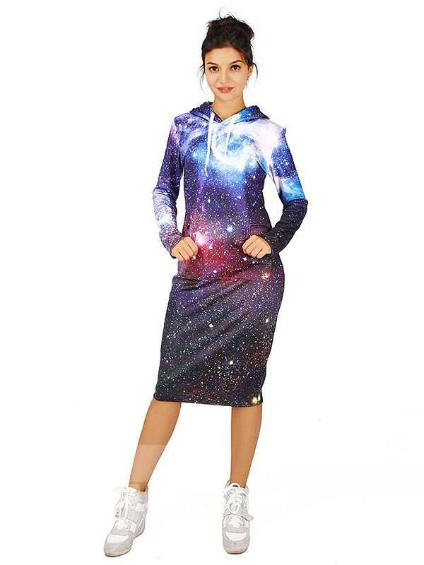 Amazing Long Sleeve Purple Starry Sky Pattern 3D Painted Hoodie Dress