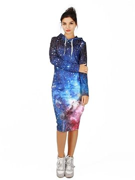 Stunning Long Sleeve Starry Sky Pattern 3D Painted Hoodie Dress