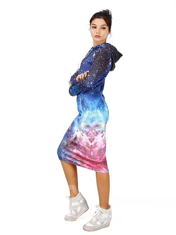 Stunning Long Sleeve Starry Sky Pattern 3D Painted Hoodie Dress