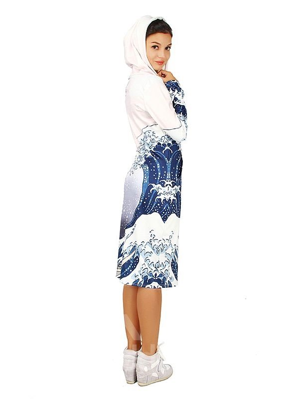 Modest Long Sleeve Wave Pattern 3D Painted Hoodie Dress