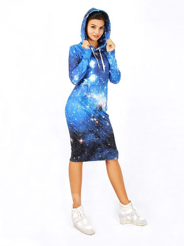 Fashion Long Sleeve Blue Galaxy Pattern 3D Painted Hoodie Dress