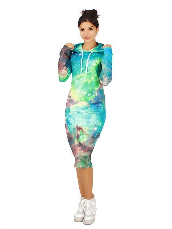 Shining Long Sleeve Galaxy Pattern 3D Painted Hoodie Dress