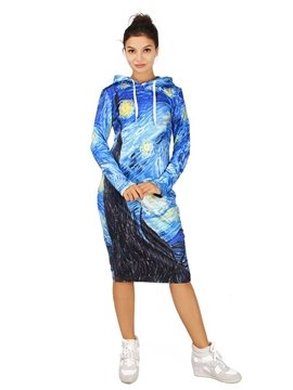 Fantastic Long Sleeve Starry Night of Van Gogh Pattern 3D Painted Hoodie Dress