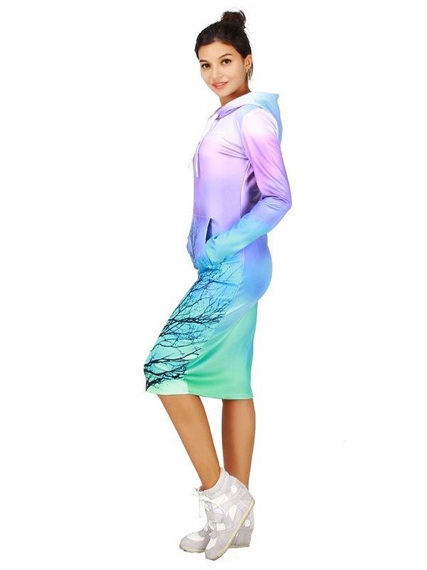 Charming Long Sleeve Tree Pattern 3D Painted Hoodie Dress