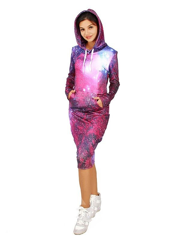 Attractive Long Sleeve Fuchsia Galaxy Pattern 3D Painted Hoodie Dress