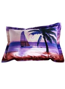 Romantic Sailing Ship and Palm Print 2-Piece Pillow Cases