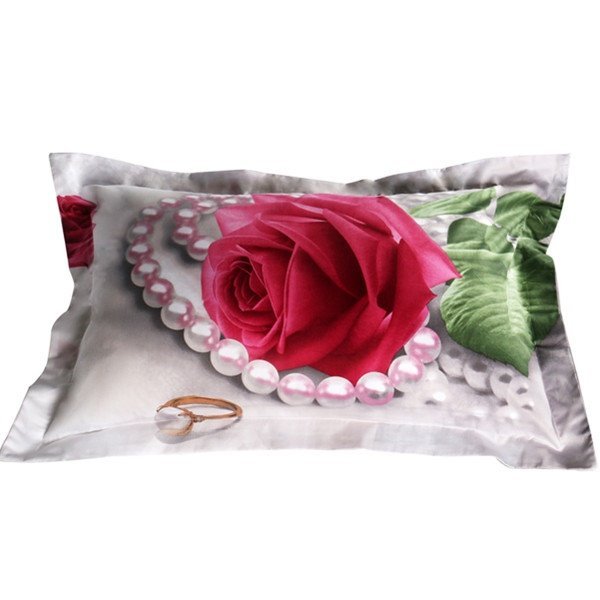 Pink Rose and Pearl Print Cotton 2-Piece Pillow Cases
