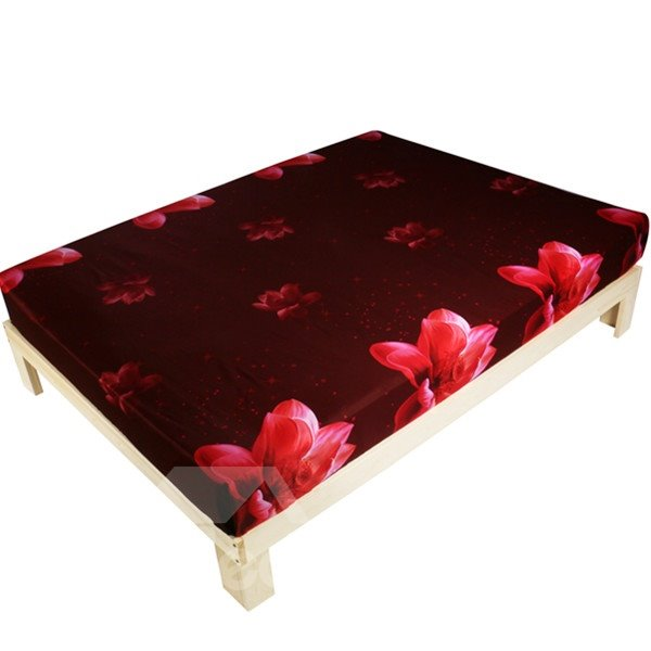 Beautiful 3D Pink Lotus Print Fitted Sheet