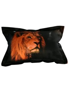 Strong Lion Print 2-Piece Cotton Pillow Cases