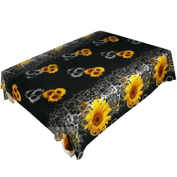 Attractive 3D Sunflower Printed Cotton Flat Sheet